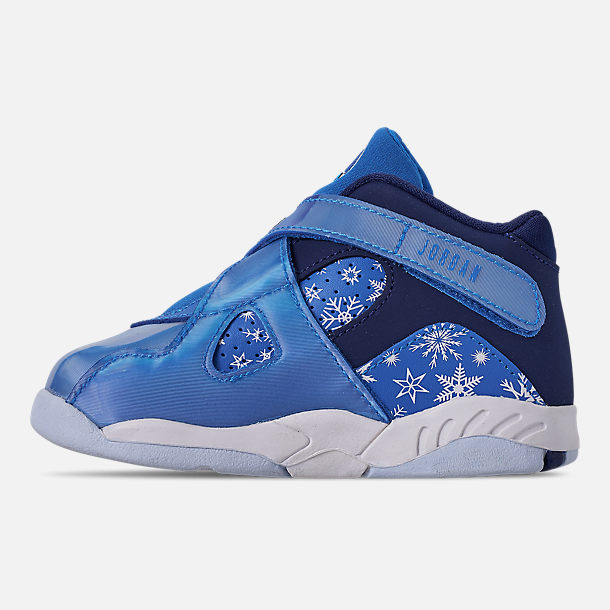 Left view of Kids' Toddler Air Jordan Retro 8 Basketball Shoes in Cobalt Blaze/Blue Void/White