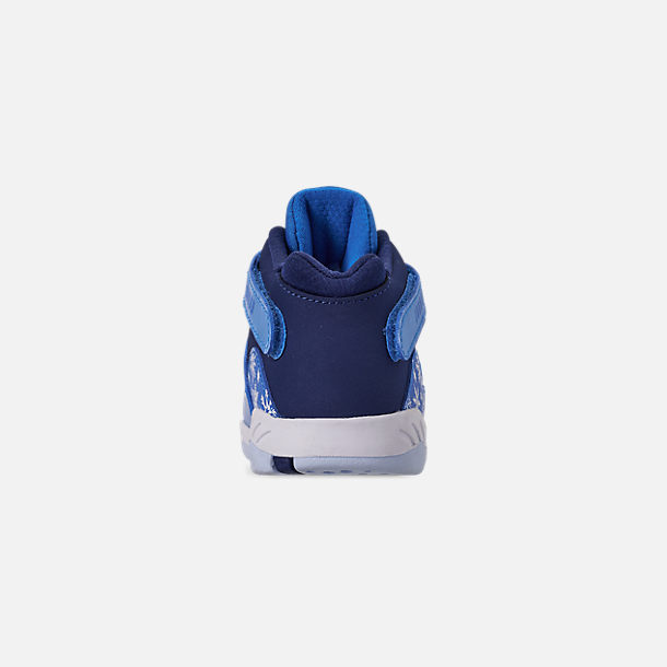 Back view of Kids' Toddler Air Jordan Retro 8 Basketball Shoes in Cobalt Blaze/Blue Void/White