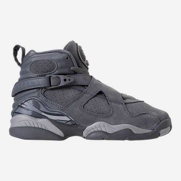 Right view of Kids' Grade School Air Jordan Retro 8 Basketball Shoes in Cool Grey/Wolf Grey