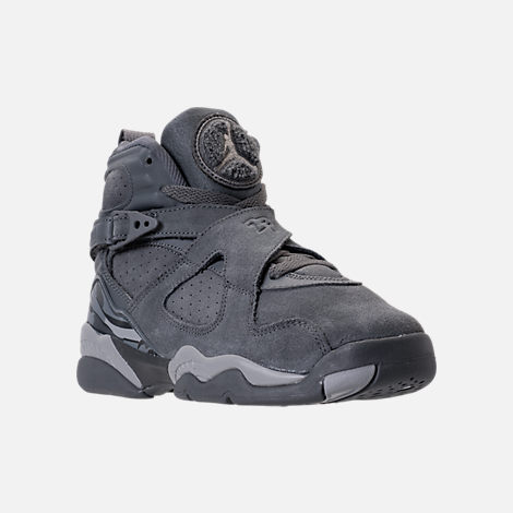 Three Quarter view of Kids' Grade School Air Jordan Retro 8 Basketball Shoes in Cool Grey/Wolf Grey