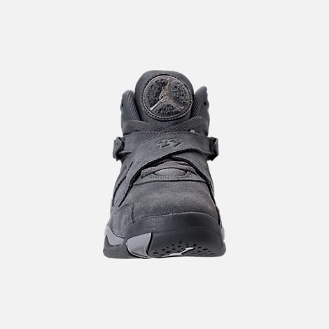 Front view of Kids' Grade School Air Jordan Retro 8 Basketball Shoes in Cool Grey/Wolf Grey