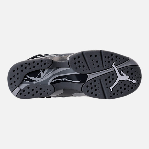 Bottom view of Kids' Grade School Air Jordan Retro 8 Basketball Shoes in Cool Grey/Wolf Grey