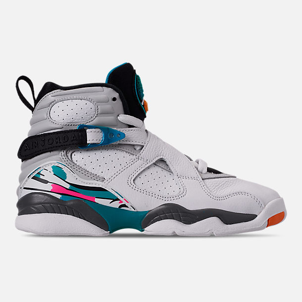 Right view of Kids' Grade School Air Jordan Retro 8 Basketball Shoes in White/White/Turbo Green/Neutral Grey
