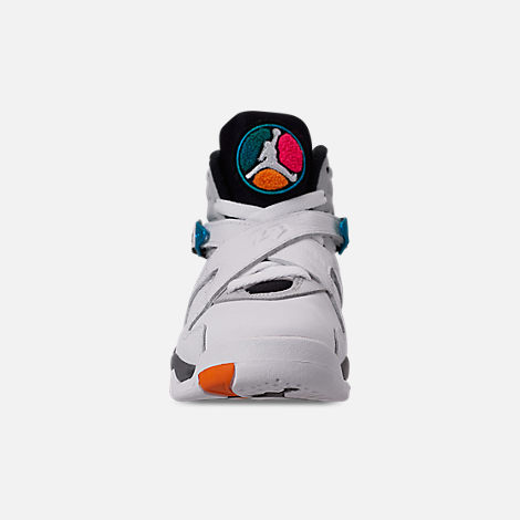 Front view of Kids' Grade School Air Jordan Retro 8 Basketball Shoes in White/White/Turbo Green/Neutral Grey