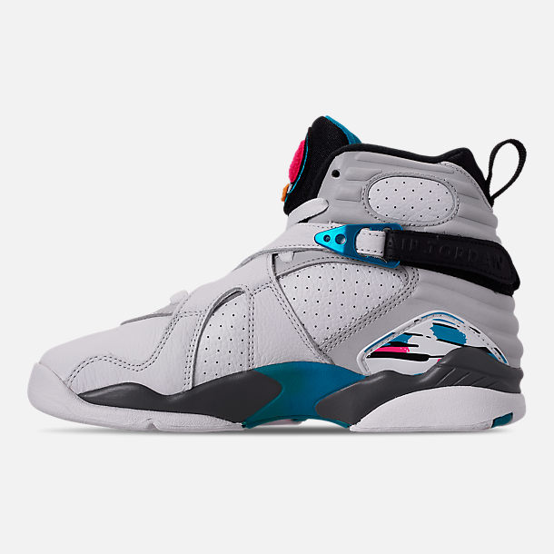 Left view of Big Kids' Air Jordan Retro 8 Basketball Shoes in White/White/Turbo Green/Neutral Grey