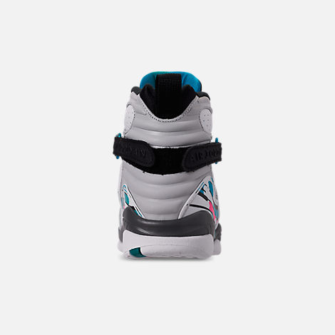 Back view of Kids' Grade School Air Jordan Retro 8 Basketball Shoes in White/White/Turbo Green/Neutral Grey