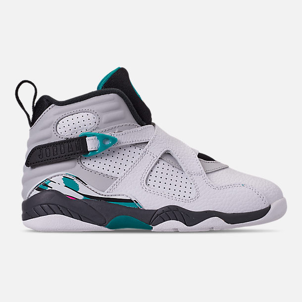 Right view of Little Kids' Air Jordan Retro 8 Basketball Shoes in White/White/Turbo Green/Neutral Grey
