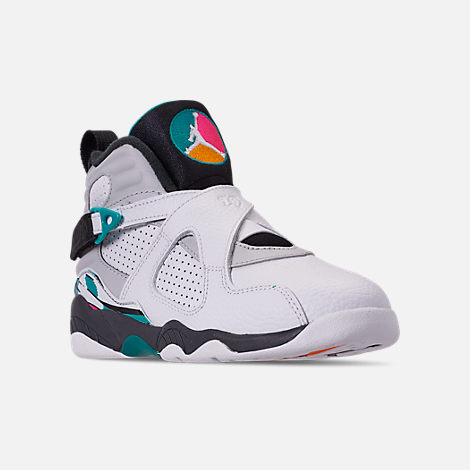 Three Quarter view of Little Kids' Air Jordan Retro 8 Basketball Shoes in White/White/Turbo Green/Neutral Grey