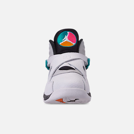 Front view of Little Kids' Air Jordan Retro 8 Basketball Shoes in White/White/Turbo Green/Neutral Grey