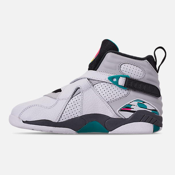 Left view of Little Kids' Air Jordan Retro 8 Basketball Shoes in White/White/Turbo Green/Neutral Grey