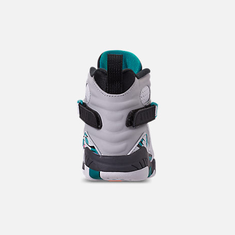 Back view of Little Kids' Air Jordan Retro 8 Basketball Shoes in White/White/Turbo Green/Neutral Grey