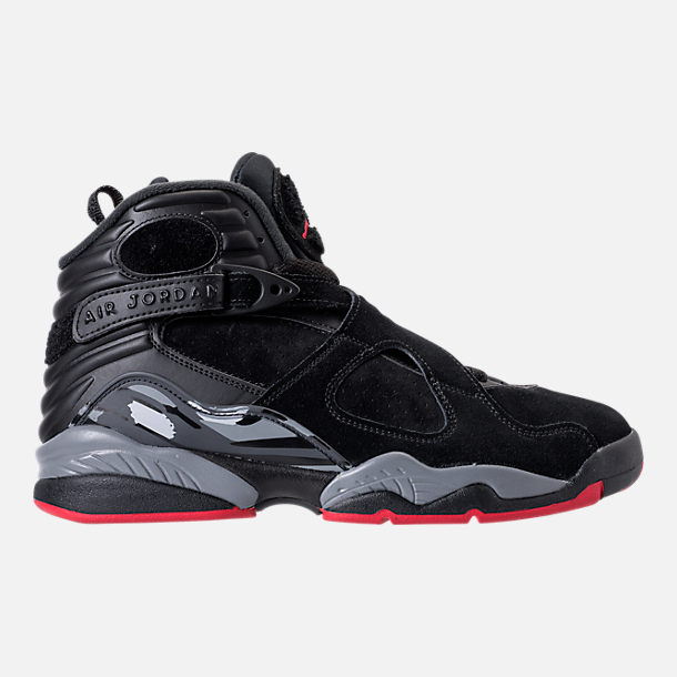 Right view of Men's Air Jordan Retro 8 Basketball Shoes in Black/Gym Red/Wolf Grey