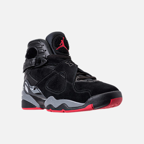 Three Quarter view of Men's Air Jordan Retro 8 Basketball Shoes in Black/Gym Red/Wolf Grey