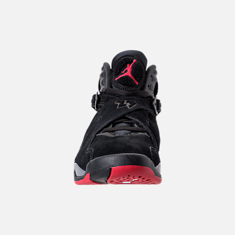 Front view of Men's Air Jordan Retro 8 Basketball Shoes in Black/Gym Red/Wolf Grey