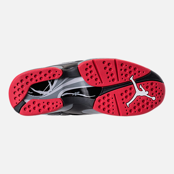 Bottom view of Men's Air Jordan Retro 8 Basketball Shoes in Black/Gym Red/Wolf Grey