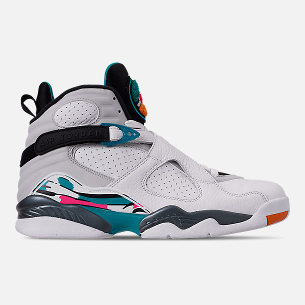 Right view of Men's Air Jordan Retro 8 Basketball Shoes in White/Turbo Green/Multicolor