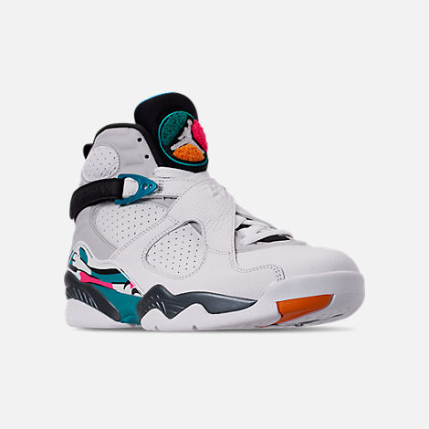 Three Quarter view of Men's Air Jordan Retro 8 Basketball Shoes in White/Turbo Green/Multicolor