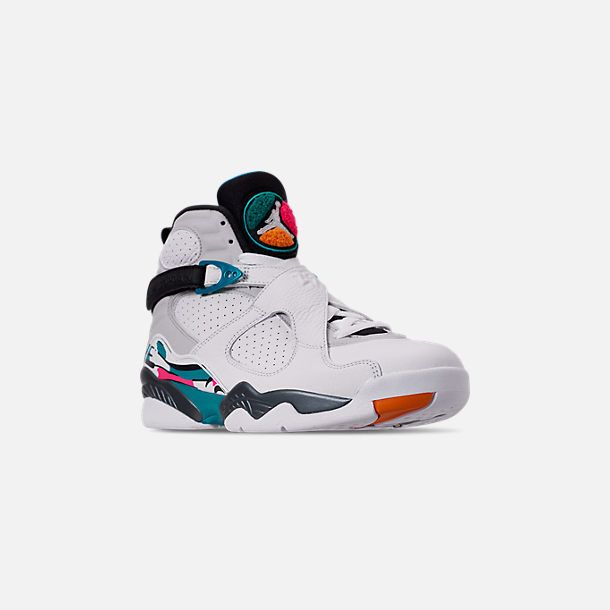 f0f85f3e374 Three Quarter view of Men's Air Jordan Retro 8 Basketball Shoes in  White/Turbo Green