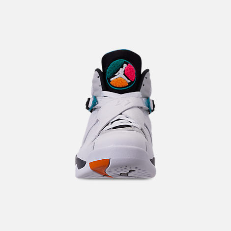 Front view of Men's Air Jordan Retro 8 Basketball Shoes in White/Turbo Green/Multicolor