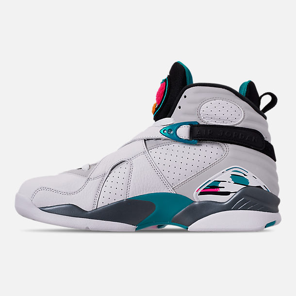 Left view of Men's Air Jordan Retro 8 Basketball Shoes in White/Turbo Green/Multicolor