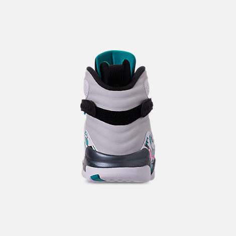 Back view of Men's Air Jordan Retro 8 Basketball Shoes in White/Turbo Green/Multicolor