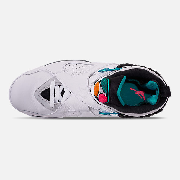 Top view of Men's Air Jordan Retro 8 Basketball Shoes in White/Turbo Green/Multicolor