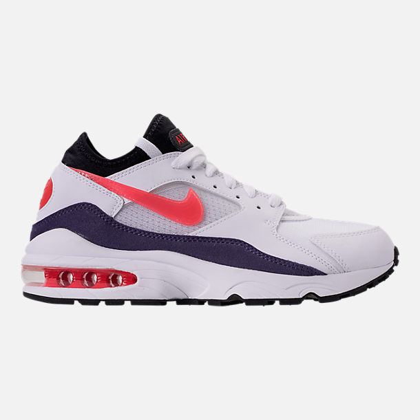 Right view of Men's Nike Air Max 93 Running Shoes in White/Habanero Red/Neutral Indigo