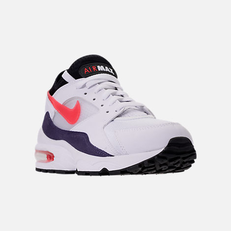 Three Quarter view of Men's Nike Air Max 93 Running Shoes in White/Habanero Red/Neutral Indigo