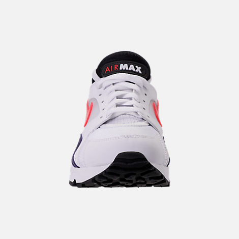 Front view of Men's Nike Air Max 93 Running Shoes in White/Habanero Red/Neutral Indigo