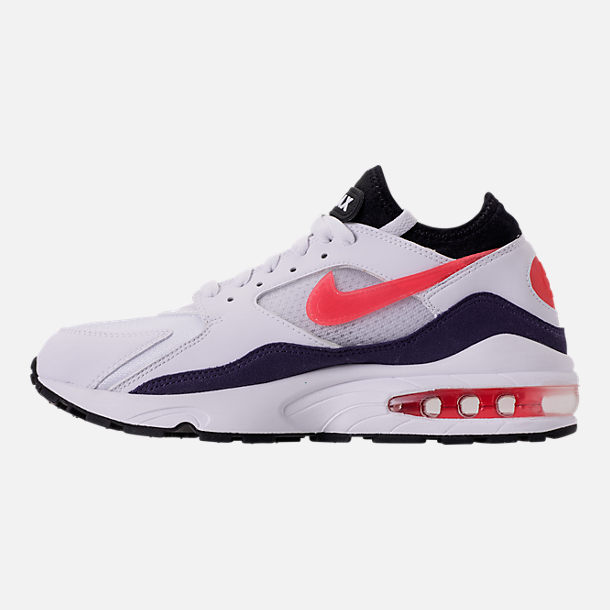 Left view of Men's Nike Air Max 93 Running Shoes in White/Habanero Red/Neutral Indigo