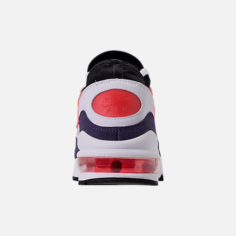 Back view of Men's Nike Air Max 93 Running Shoes in White/Habanero Red/Neutral Indigo