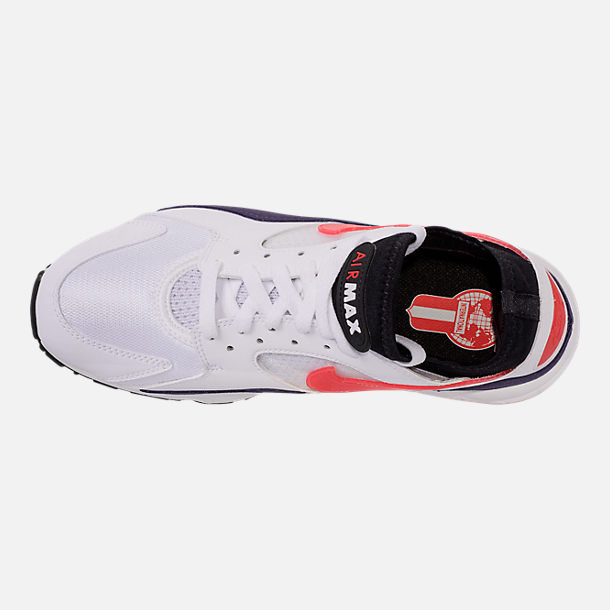 Top view of Men's Nike Air Max 93 Running Shoes in White/Habanero Red/Neutral Indigo