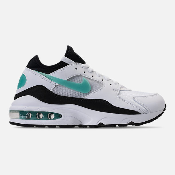 Right view of Women's Nike Air Max '93 Casual Shoes in White/Sport Turq/Black