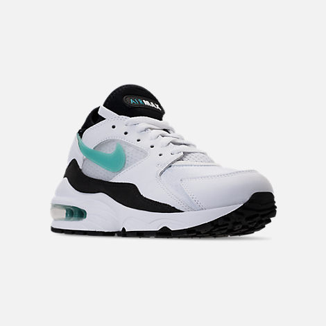 Three Quarter view of Women's Nike Air Max '93 Casual Shoes in White/Sport Turq/Black