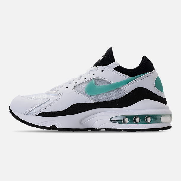 Left view of Women's Nike Air Max '93 Casual Shoes in White/Sport Turq/Black