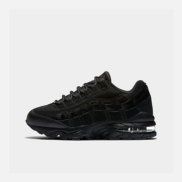 Right view of Boys' Big Kids' Nike Air Max 95 Casual Shoes in Black/Black/Black