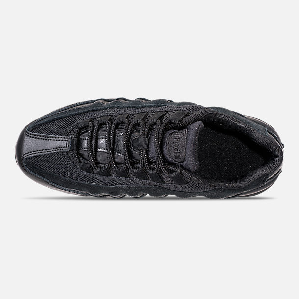 Top view of Boys' Big Kids' Nike Air Max 95 Casual Shoes in Black/Black/Black