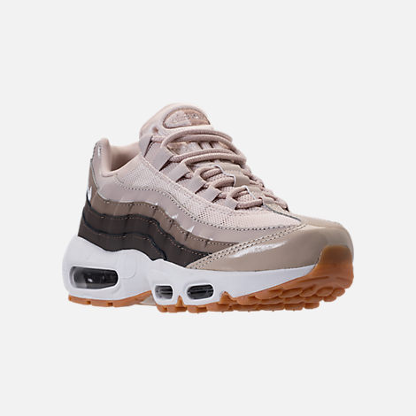 Three Quarter view of Women's Nike Air Max 95 Casual Shoes in Desert Sand/White/Moon Particle