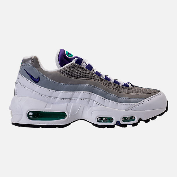 Right view of Women's Nike Air Max 95 Casual Shoes in White/Court Purple/Emerald Green