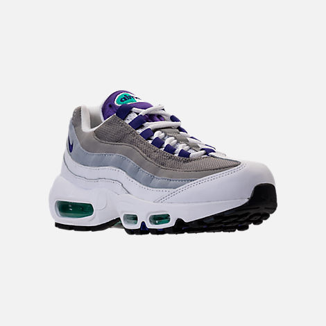 Three Quarter view of Women's Nike Air Max 95 Casual Shoes in White/Court Purple/Emerald Green