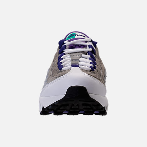 Front view of Women's Nike Air Max 95 Casual Shoes in White/Court Purple/Emerald Green