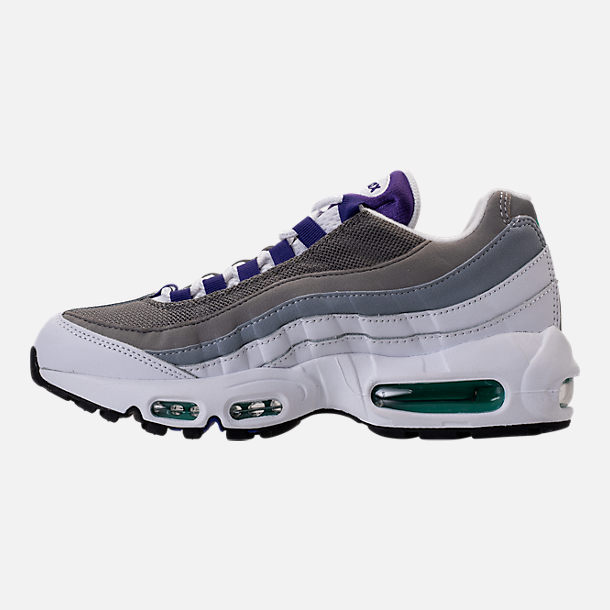 Left view of Women's Nike Air Max 95 Casual Shoes in White/Court Purple/Emerald Green
