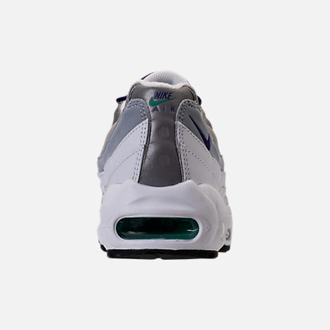 Back view of Women's Nike Air Max 95 Casual Shoes in White/Court Purple/Emerald Green