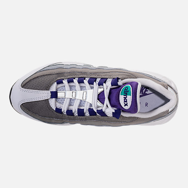 Top view of Women's Nike Air Max 95 Casual Shoes in White/Court Purple/Emerald Green