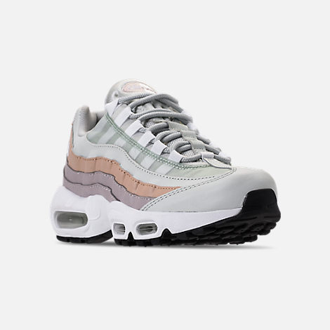 Three Quarter view of Women's Nike Air Max 95 Casual Shoes in Light Silver/White/Moon Particle