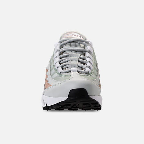 Front view of Women's Nike Air Max 95 Casual Shoes in Light Silver/White/Moon Particle