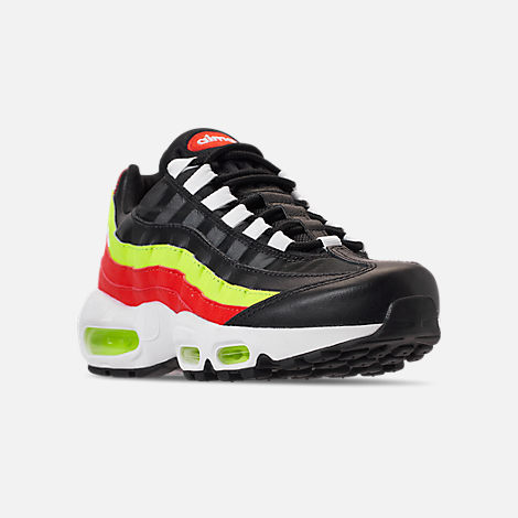 Three Quarter view of Women's Nike Air Max 95 Casual Shoes in Black/White/Habanero Red/Volight