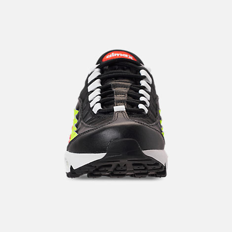 Front view of Women's Nike Air Max 95 Casual Shoes in Black/White/Habanero Red/Volight