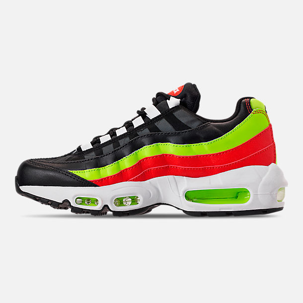 Left view of Women's Nike Air Max 95 Casual Shoes in Black/White/Habanero Red/Volight