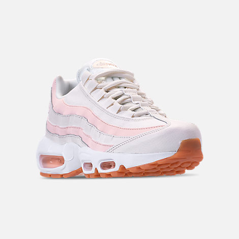 Three Quarter view of Women's Nike Air Max 95 Running Shoes in Sail/Guava Ice/Gum Light Brown